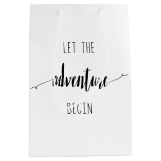 Let the Adventure Begin Quote Medium Gift Bag