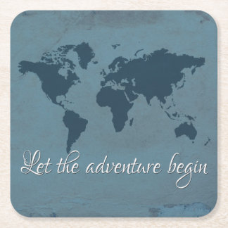 Let the adventure begin square paper coaster