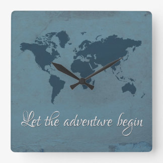 Let the adventure begin square wall clock