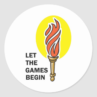 LET THE GAMES BEGIN CLASSIC ROUND STICKER