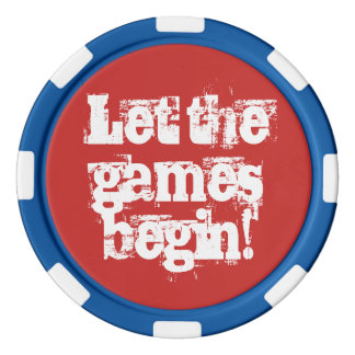 Let the games begin trashed Poker Chip Red Blue Set Of Poker Chips