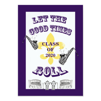Let the Good Times Roll Graduation Party Purple Card