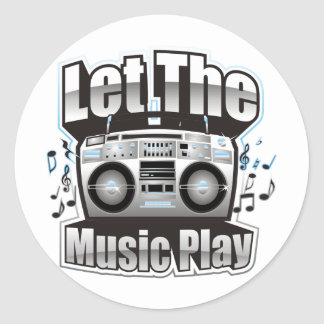 Let the Music PLay Round Sticker