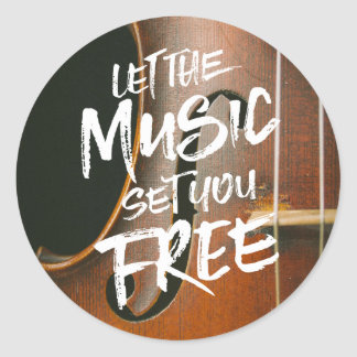 Let the Music Set You Free Musician Photo Template Classic Round Sticker