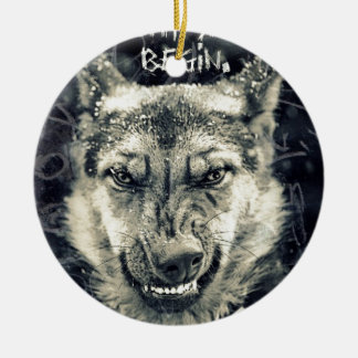 let the night shift beginart ceramic ornament