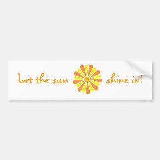 Let the sun shine in! Orange Yellow Burst stickers Bumper Sticker