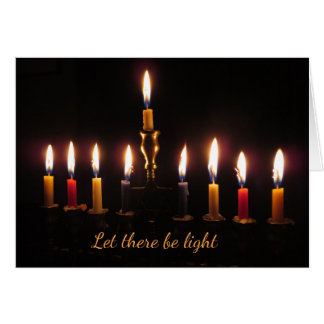Let there be light menorah Hanukkah card