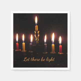 Let there be light menorah Hanukkah cocktail npkin Disposable Napkins