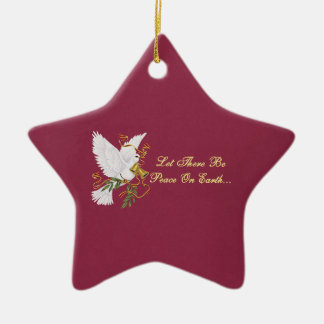 let there be peace on earth Double-Sided star ceramic christmas ornament