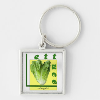Let Us Eat Veggies Silver-Colored Square Keychain