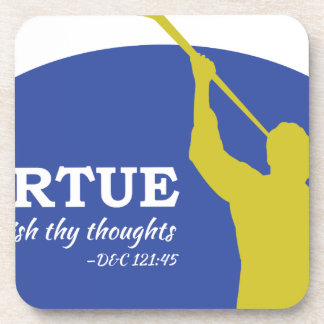 """""""Let Virtue Garnish Thy Thoughts"""" Angel Moroni Drink Coaster"""