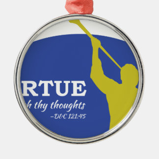 """Let Virtue Garnish Thy Thoughts"" Angel Moroni Metal Ornament"