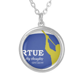 """Let Virtue Garnish Thy Thoughts"" Angel Moroni Silver Plated Necklace"