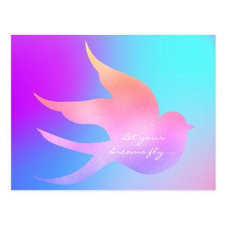 Let Your Dream Fly Motivational Pink Blue Bird Postcard