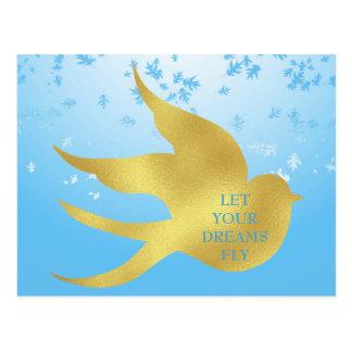 LET YOUR DREAMS FLY MOTIVATIONAL PEACH POSTCARD
