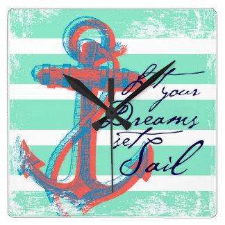 Let Your Dreams Set Sail Square Wall Clock