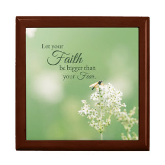 """""""Let your Faith…"""" Christian Quote Floral Flower Trinket Box"""