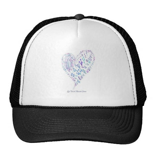 Let Your Heart Sing - Heart made of musical notes Mesh Hat