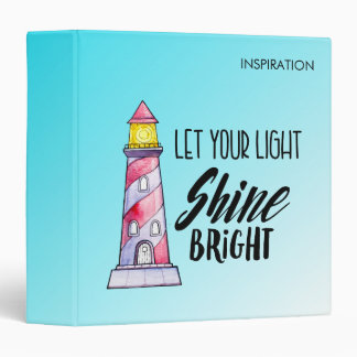 Let Your Light Shine Bright Lighthouse Typography Binder