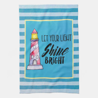 Let Your Light Shine Bright Lighthouse Typography Kitchen Towel