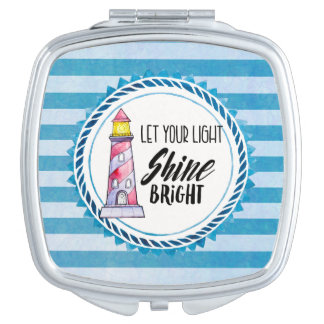 Let Your Light Shine Bright Lighthouse Typography Mirror For Makeup