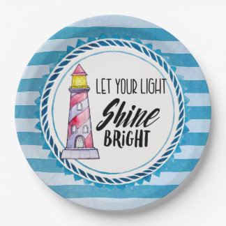 Let Your Light Shine Bright Lighthouse Typography Paper Plate
