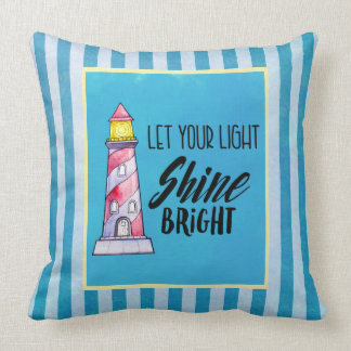 Let Your Light Shine Bright Lighthouse Typography Throw Pillow