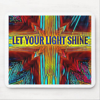 """Let Your Light Shine"" Modern Diversity Cross Mouse Pad"