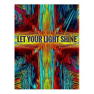 """Let Your Light Shine"" Modern Diversity Cross Postcard"
