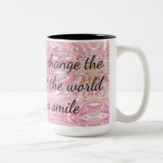 Let Your Smile Change The World Encouragement Two-Tone Coffee Mug