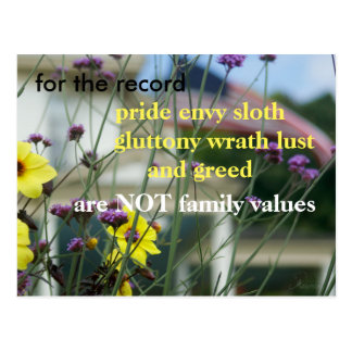 Let your voice be heard!  NOT family values Postcard