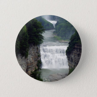 Letchworth State Park Upper and Middle Waterfalls 2 Inch Round Button