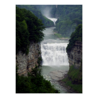 Letchworth State Park Upper and Middle Waterfalls Poster
