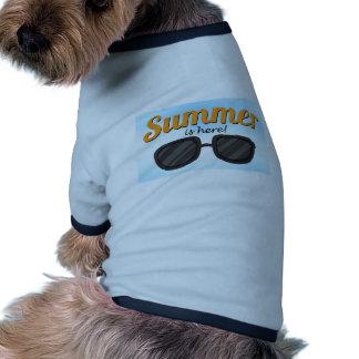 L'été est ici t-shirt ringer pour chien
