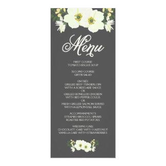 L'été fleurit la carte | de menu jaune et le gris carton d'invitation  10,16 cm x 23,49 cm