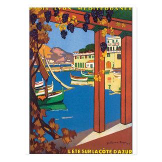 L'Ete Sur La Cote D'Azur Vintage Travel Poster Postcard
