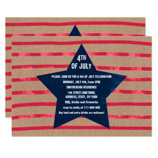 L'étoile bleue rouge d'aquarelle barre le 4 carton d'invitation  12,7 cm x 17,78 cm