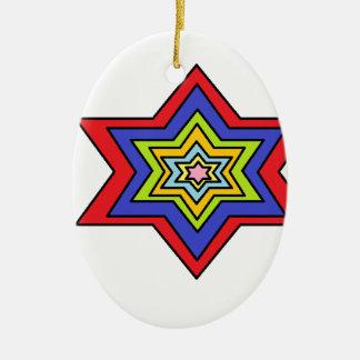 L'étoile colorée ornement ovale en céramique