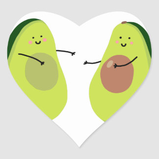 LET'S AVOCUDDLE, AVOCADO DESIGN HEART STICKER