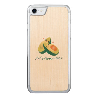 Let's Avocuddle Funny Cute Avocados Pun Humor Carved iPhone 8/7 Case