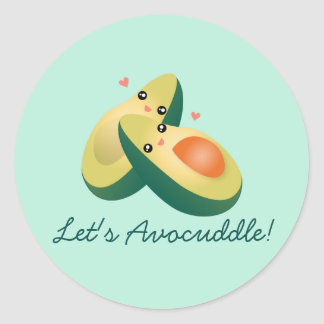 Let's Avocuddle Funny Cute Avocados Pun Humor Classic Round Sticker