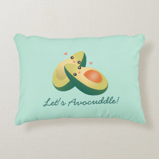 Let's Avocuddle Funny Cute Avocados Pun Humor Decorative Pillow