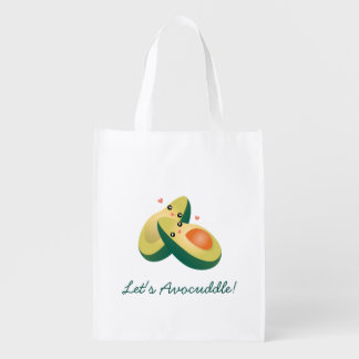 Let's Avocuddle Funny Cute Avocados Pun Humor Grocery Bag