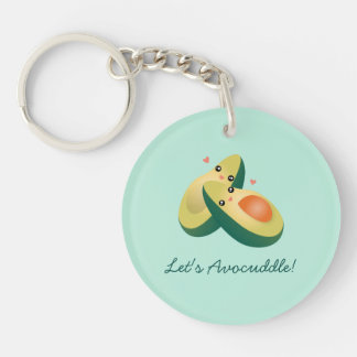 Let's Avocuddle Funny Cute Avocados Pun Humor Keychain