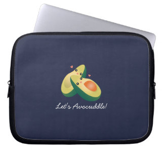 Let's Avocuddle Funny Cute Avocados Pun Humor Laptop Sleeve