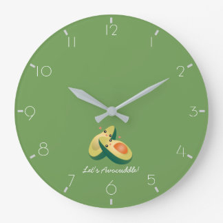 Let's Avocuddle Funny Cute Avocados Pun Humor Large Clock
