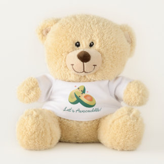 Let's Avocuddle Funny Cute Avocados Pun Humor Teddy Bear