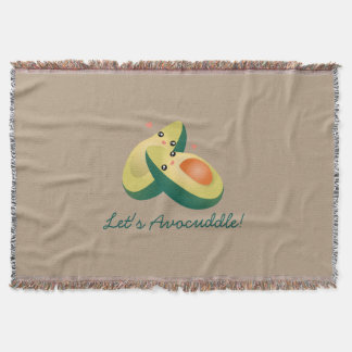 Let's Avocuddle Funny Cute Avocados Pun Humor Throw Blanket