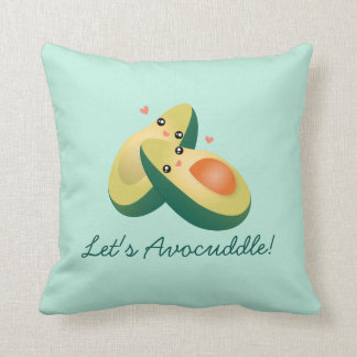Let's Avocuddle Funny Cute Avocados Pun Humour Throw Pillow