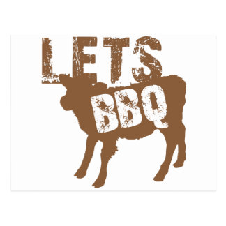 Let's BBQ! with cute little cow Postcard